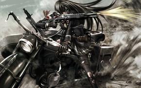 Картинка кровь, аниме, выстрел, арт, мотоцикл, повязка, kouji oota, девушка. оружие