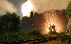 Картинка взрыв, пальмы, Crysis