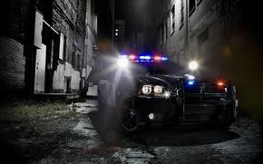Картинка полиция, седан, додж, Police, dodge, charger, чарджер, мигалки, кенгурятник, улица.фон, pursuit