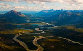 Обои облака, река, небо, горы, озёра, Аляска