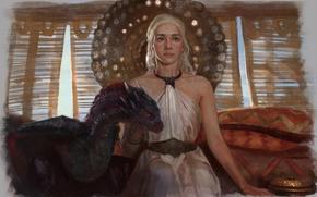 Картинка девушка, дракон, арт, A Song of Ice and Fire, Игра Престолов, Песнь Льда и Огня, …