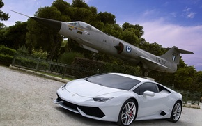 Картинка Lamborghini, white, plane, Huracan