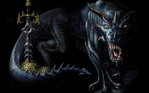 Картинка золото, дракон, монстр, меч, страж