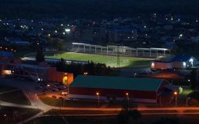 Картинка высота, Ночь, стадион, футболисты