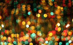 Картинка огни, фон, праздник, провода, весело, новый год, рождество, позитив, текстура, огоньки, гирлянды, лампочки, разноцветный, цветной, …