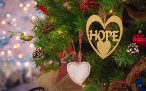 Картинка украшения, ветки, огни, праздник, шары, игрушки, елка, Рождество, сердечки, Новый год, фонарики, боке