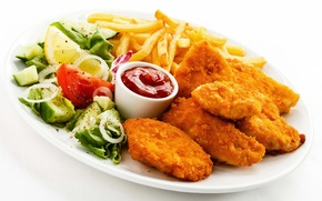 Обои chicken, лимон, potatoes, lemon, курица, салат, помидор, кетчуп, sauce, картофель фри