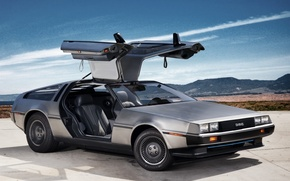 Картинка небо, двери, DeLorean, DMC-12, передок, Prototype 2011, крыло чайки, делориан