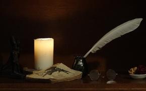 Картинка перо, Свеча, очки, книга