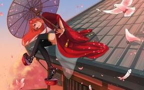 Картинка крыша, девушка, дома, зонт, аниме, перья, лепестки, арт, голуби, кимоно, gintama, kagura, marmalade, elfless vanilla