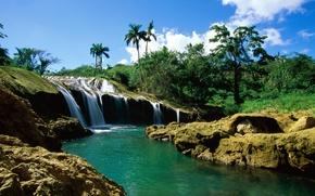 Картинка река, пальмы, водопад
