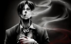 Картинка кровь, дым, арт, парень, брюнет