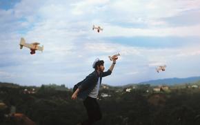 Картинка небо, человек, самолёты