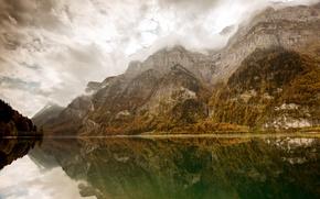 Картинка облака, горы, озеро, отражение