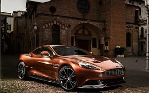 Картинка фон, Aston Martin, здание, суперкар, передок, Астон Мартин, красивая машина, AM 310, Ванкуиш, Vanquish
