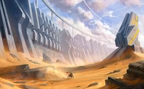 Обои стена, bike, мотоцикл, пустыня, песок, башня, скалы, фантастика, камни