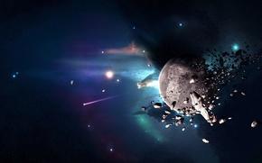 Обои осколки, катастрофа, астероиды, Планета