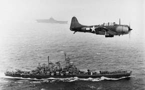 """Обои бомбардировщик, вторая мировая война, тихий океан, авианосец вдали, линкор """"Вашингтон"""""""
