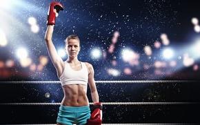 Картинка спорт, ринг, девушка, бокс