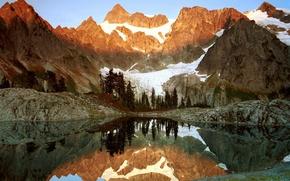 Обои lago, agua, reflejos, montañas, hielo, glaciar, árboles, pinos