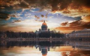 Обои осень, пейзаж, город, отражение, река, спб, михайлов андрей