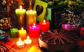 Картинка романтика, свечи, подарки, торт, Новый год, коробки