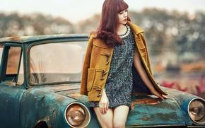 Картинка поза, машина, девушка, азиатка