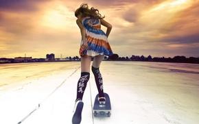 Обои девушка, спорт, скейтборд