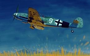 Картинка war, art, airplane, painting, aviation, ww2, Messerschmitt Bf 109G-10