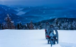 Картинка winter, mountain, snowshoes