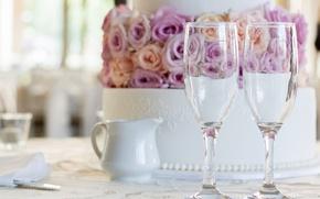 Картинка бокалы, торт, свадебный торт