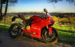 Картинка пейзаж, красный, мотоцикл, Ducati, superbike