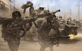Обои оружие, война, армия, костюмы, танк