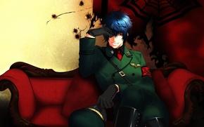 Картинка улыбка, диван, перчатки, эмблема, фуражка, art, военная форма, yone kazuki, asmodeus
