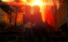 Обои закат, удивление, поцелуй, ступеньки, портфель, две девушки, школьная форма, kiss, yuri, юри