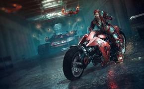 Обои девушка, оружие, красное, арт, очки, искры, мотоцикл, танк, лазеры, тоннель, Catalin Obreja