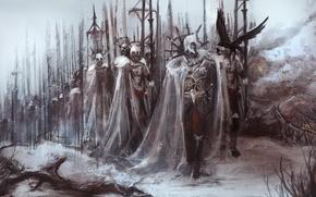 Картинка оружие, гвардия, копья, птица, императора, доспехи, солдаты