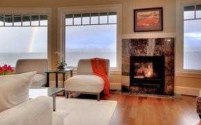 Картинка дизайн, стиль, комната, интерьер, камин