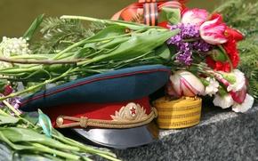 Картинка цветы, 9мая, день победы, фуражка