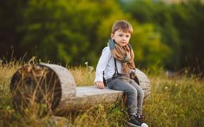 Картинка Мальчик, Взгляд, Скамейка, Дети, Джинсы