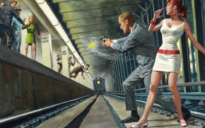 Картинка метро, поезд, перестрелка, двушка