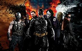 Обои Харви Дент, Чёрная кошка, The Dark Knight Rises, Темный рыцарь, Ра'с аль Гул, Бэтмен, Джокер, ...
