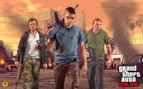 Картинка город, солдаты, art, Grand Theft Auto 5, gta online, Команда уцелевших, Ak 47