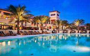 Картинка вечер, бассейн, отель, pool, лежаки, шезлонги, hotel, пальмы., exterior, Curacao, Grand Hayatt