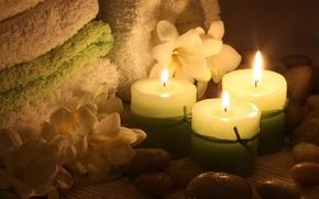 Картинка цветы, полотенце, свечи, flowers, Spa, спа, candles, towel, спа камни, Spa stones
