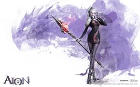 Картинка дракон, NCSOFT, Aion, девушка, сhanter, посох, очки