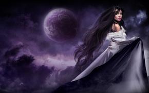 Картинка девушка, ночь, луна, волосы, платье