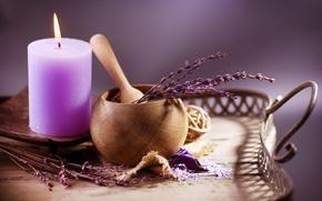Картинка свеча, Веточка, лаванда, сиреневый цвет, лопатка, горшочек