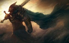Картинка ветер, буря, меч, воин, арт, шлем, доспех