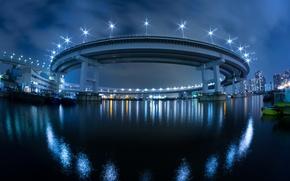 Картинка ночь, мост, город, огни, япония